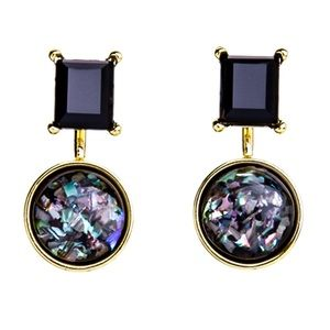 Jewelry - Gold Tone Black Gem Studs w/Iridescent Jackets